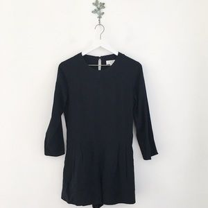 Lou & Grey Solid Black Long Sleeve Romper Small